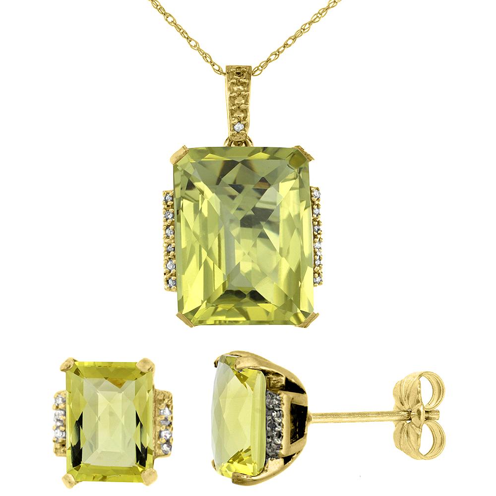 10K Yellow Gold Natural Octagon Lemon Quartz Earrings & Pendant Set Diamond Accents