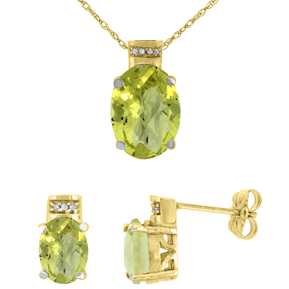 10K Yellow Gold Diamond Natural Oval Lemon Quartz Earrings & Pendant Set