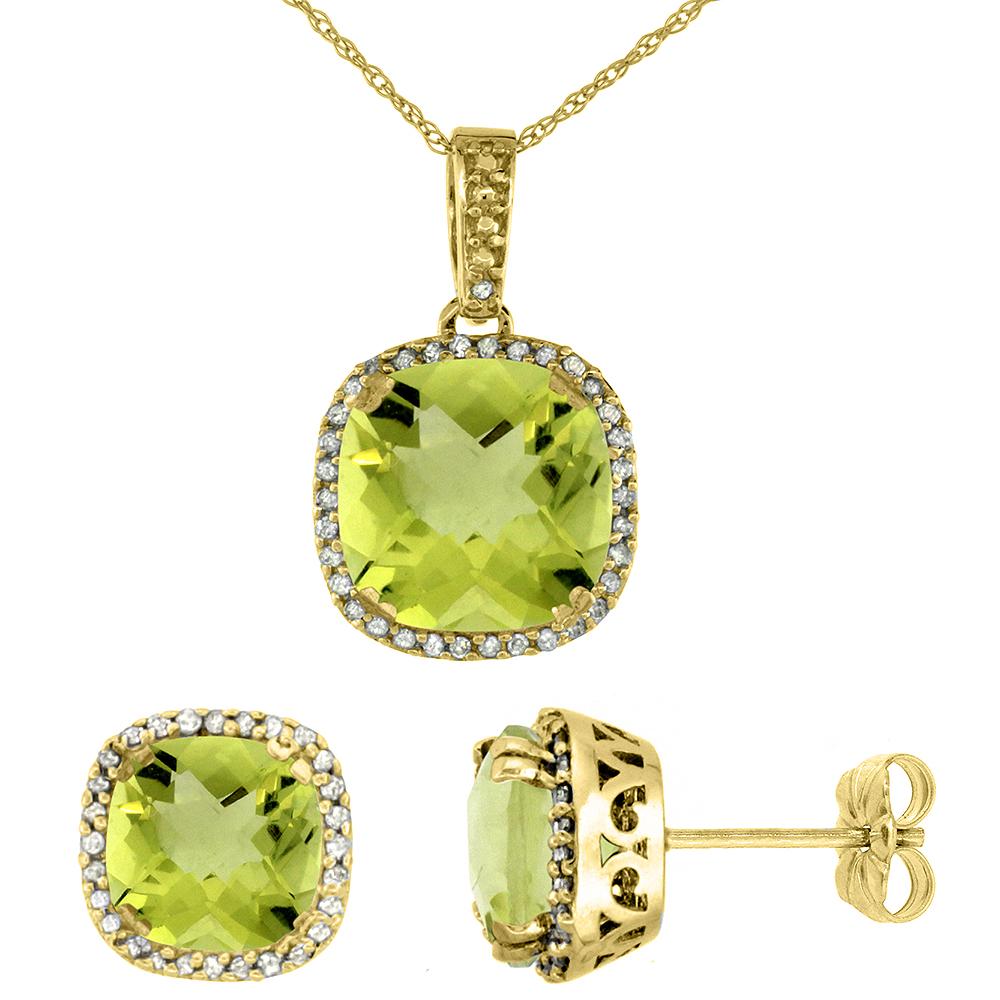 10k Yellow Gold Diamond Halo Natural Lemon Quartz Earring Necklace Set 7x7mm & 10x10mm Cushion, 18 inch