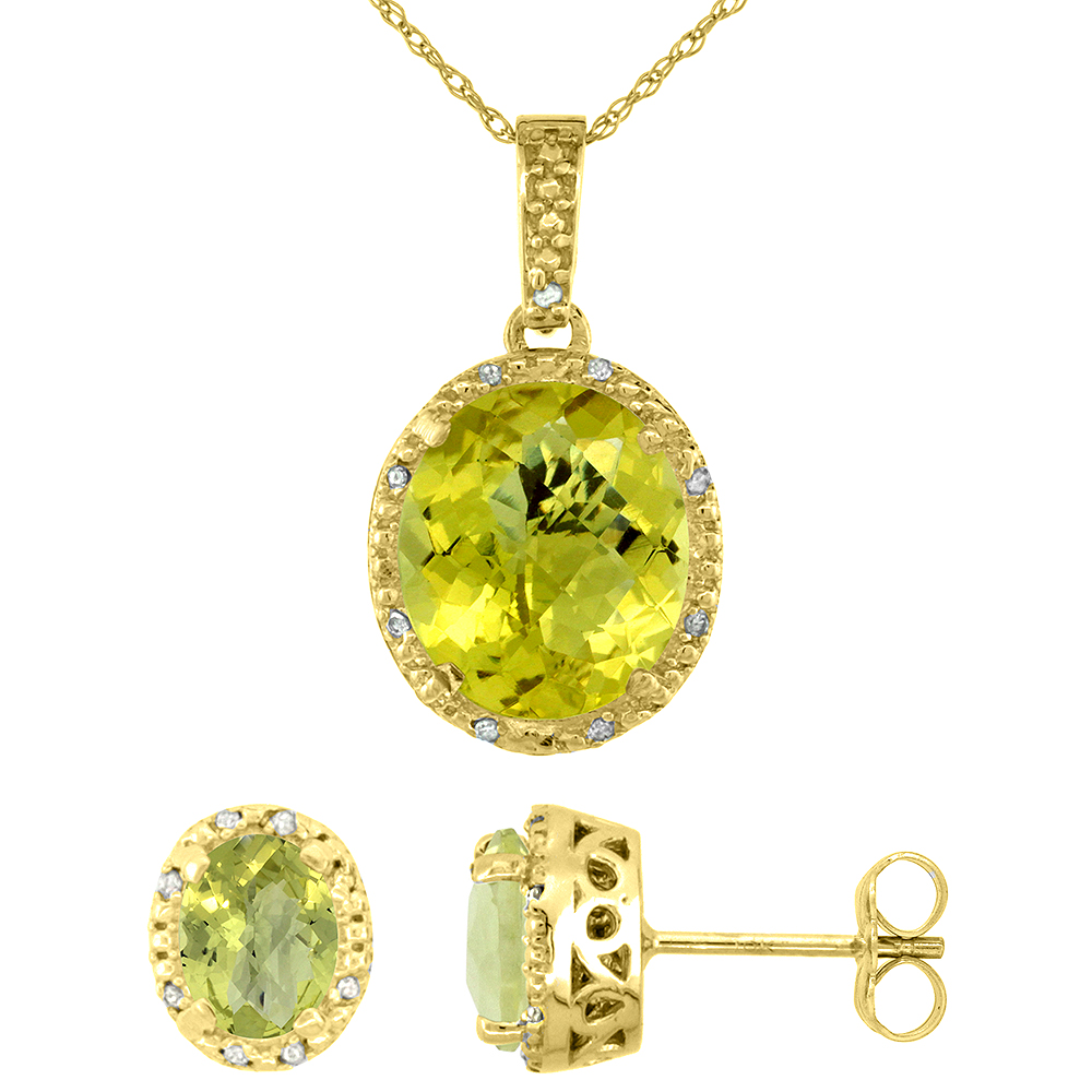 10K Yellow Gold Diamond Halo Natural Lemon Quartz Earrings Necklace Set Oval 7x5mm & 12x10mm, 18 inch