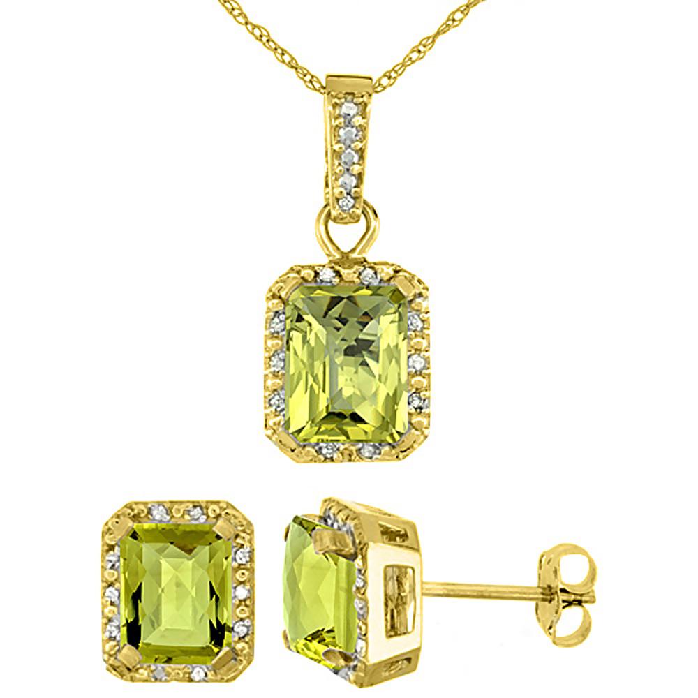 10K Yellow Gold Natural Octagon 8x6 mm Lemon Quartz Earrings & Pendant Set Diamond Accents