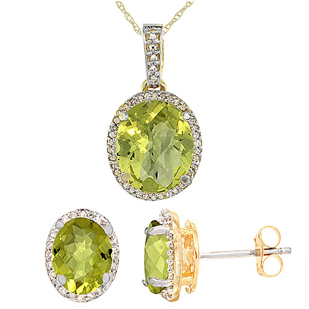 10K Yellow Gold Diamond Natural Lemon Quartz Oval Earrings & Pendant Set