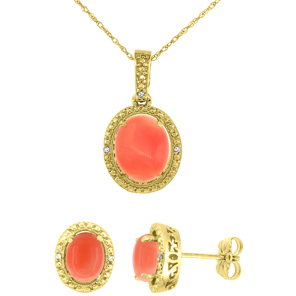 10K Yellow Gold Diamond Natural Coral Oval Earrings & Pendant Set
