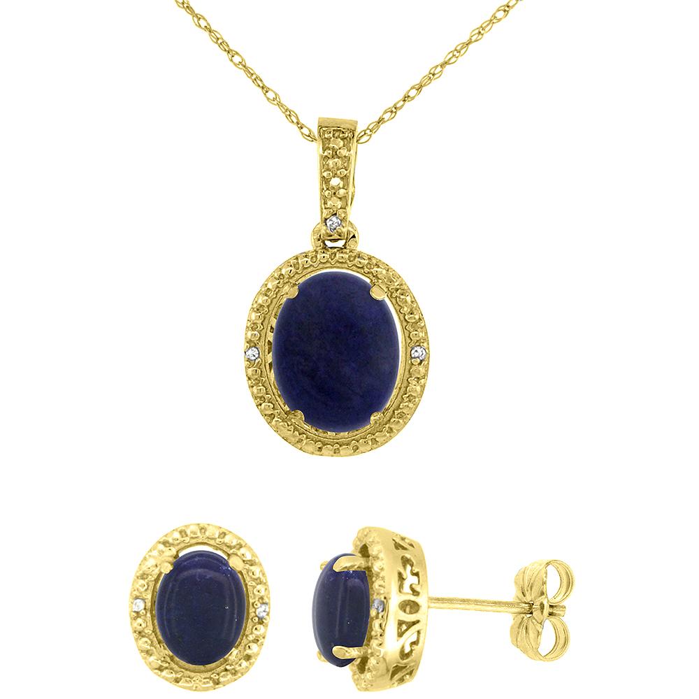 10K Yellow Gold Diamond Natural Lapis Oval Earrings & Pendant Set