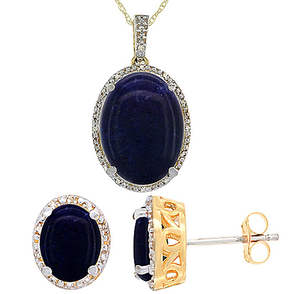 10K Yellow Gold Diamond Natural Oval Lapis Earrings & Pendant Set