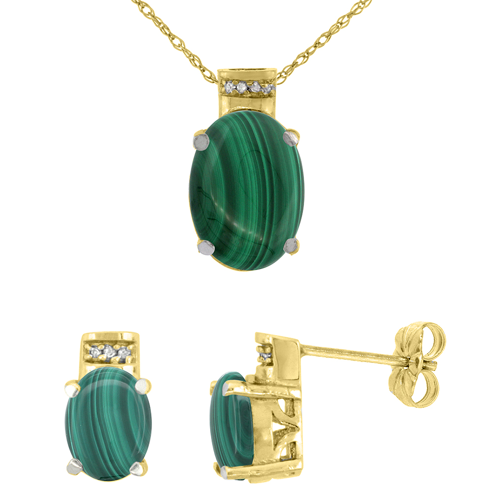 10K Yellow Gold Diamond Natural Oval Malachite Earrings & Pendant Set