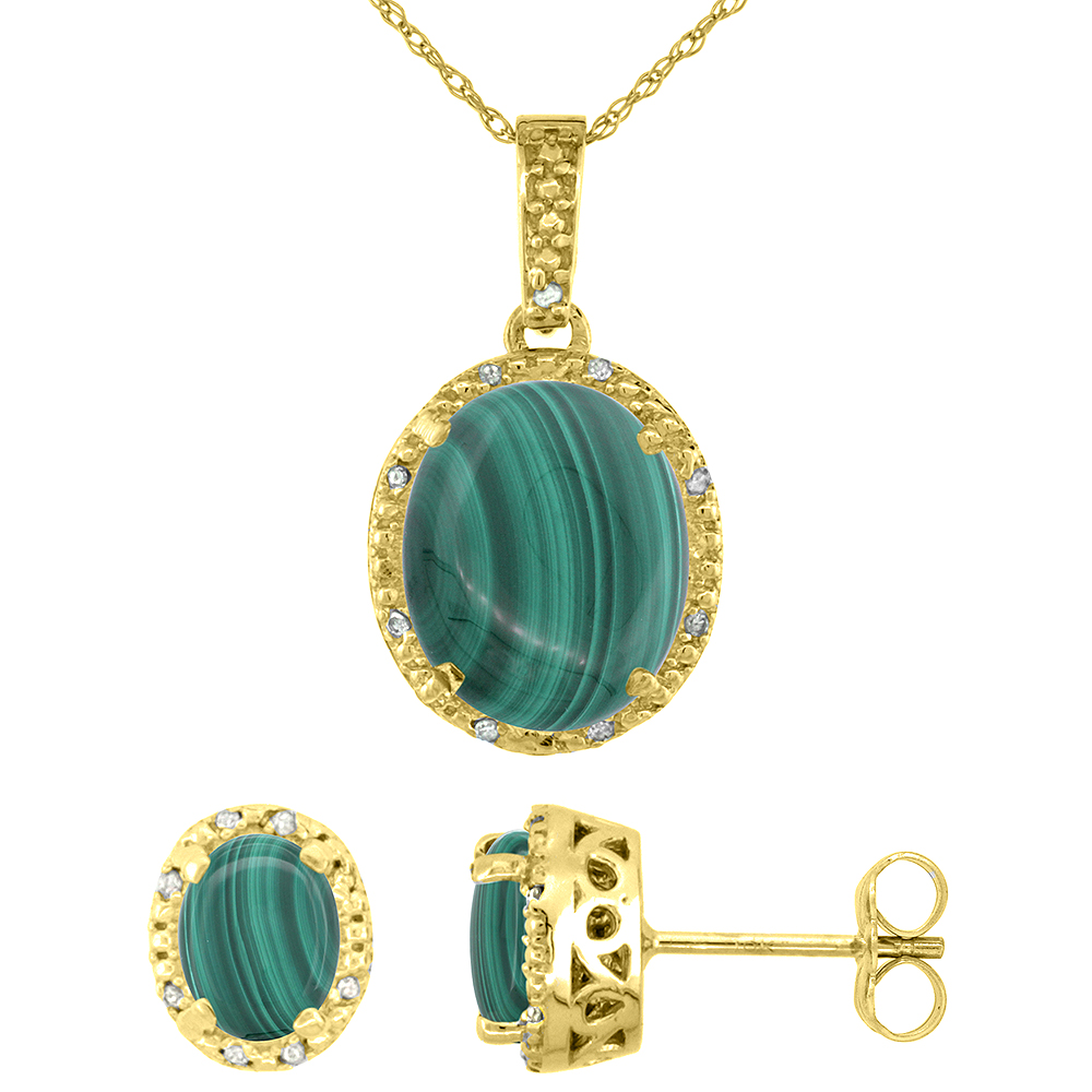 10K Yellow Gold Diamond Halo Natural Malachite Earrings Necklace Set Oval 7x5mm & 12x10mm, 18 inch