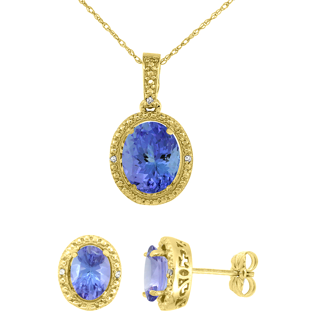 10K Yellow Gold Diamond Natural Tanzanite Oval Earrings & Pendant Set