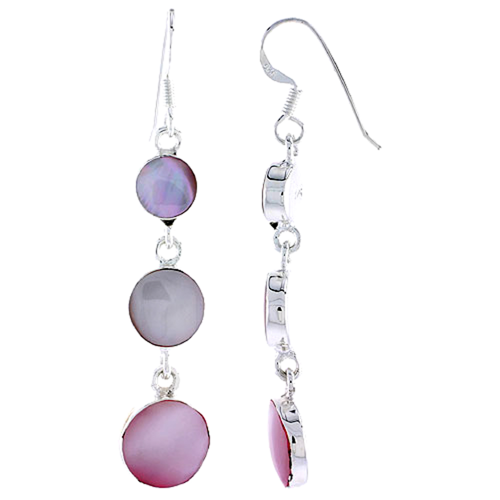 "Sterling Silver Graduated Circles Pink Mother of Pearl Inlay Earrings, 1 11/16"" (43 mm) tall"