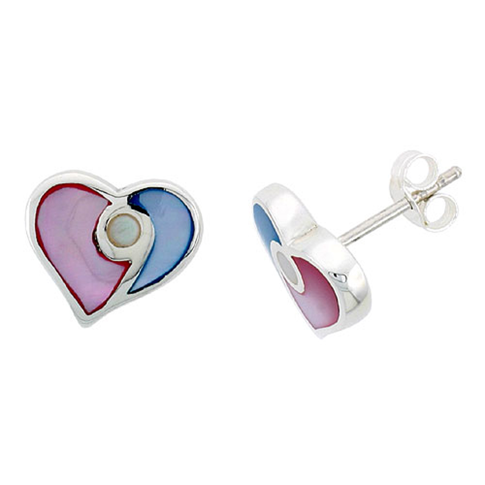 "Sterling Silver Heart Pink & Blue Mother of Pearl Inlay Earrings, 1/2"" (13 mm) tall"