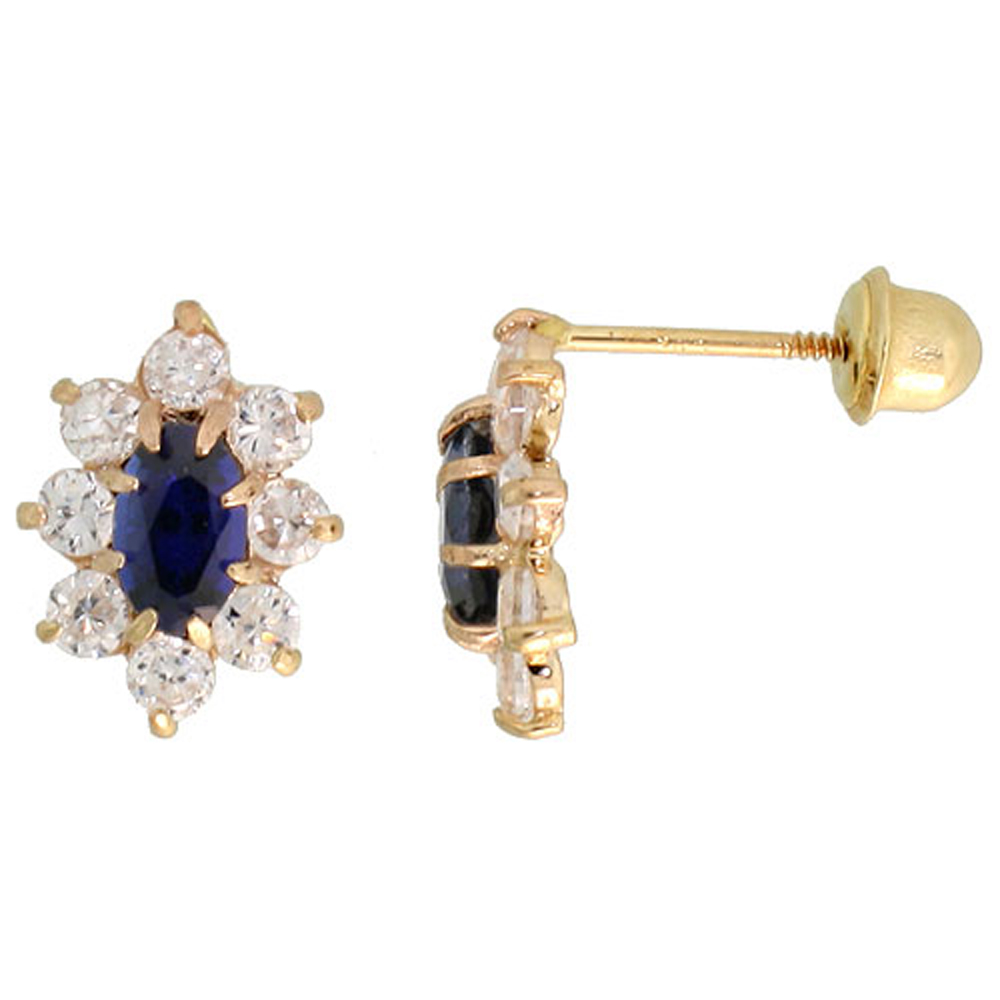 14k Gold Flower Stud Earrings Blue & white Cubic Zirconia Stones, 3/8 inch (10mm)
