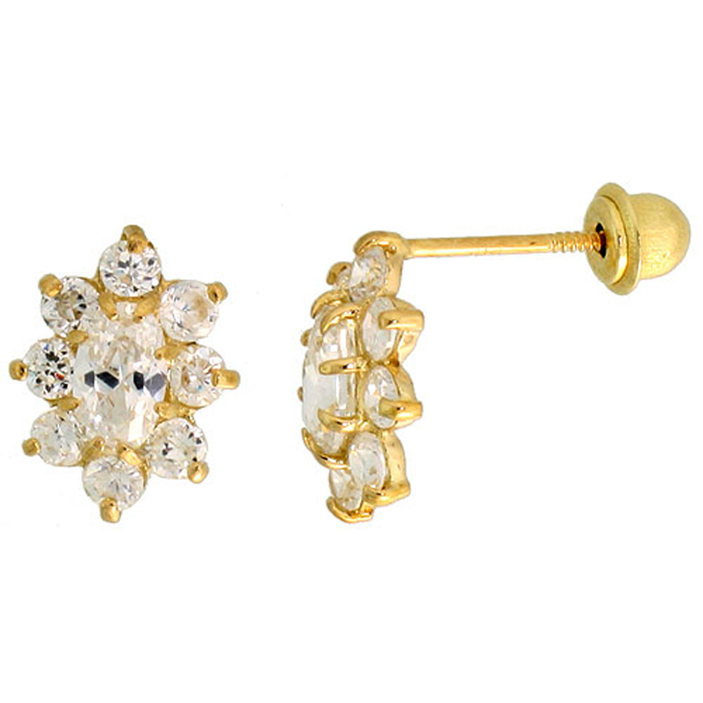 14k Gold Flower Stud Earrings White & white Cubic Zirconia Stones, 3/8 inch (10mm)