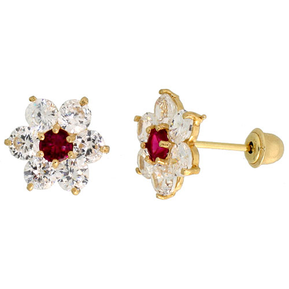 14k Gold Flower Stud Earrings Red White Cubic Zirconia Stones 5 16 Inch 9mm