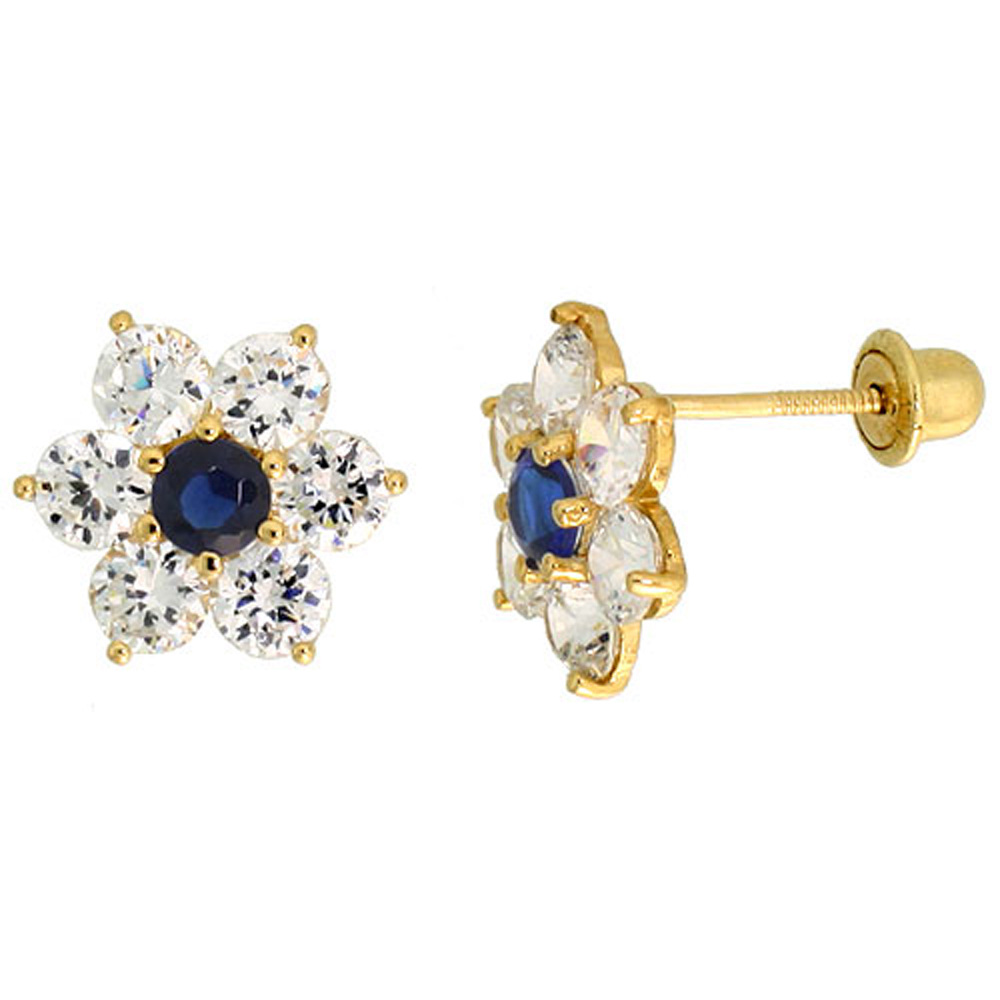 14k Gold Flower Stud Earrings Blue & white Cubic Zirconia Stones, 5/16 inch (9mm)
