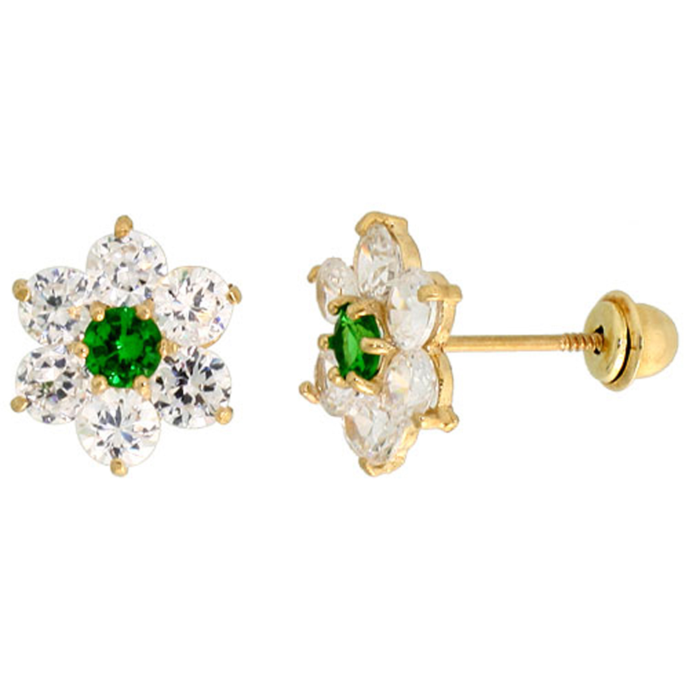 14k Gold Flower Stud Earrings Green & white Cubic Zirconia Stones, 5/16 inch (9mm)