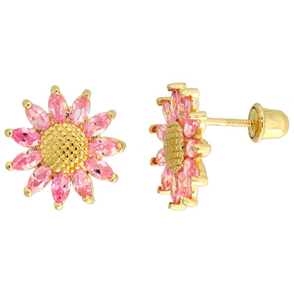 14k Gold Sunflower Stud Earrings Pink Cubic Zirconia Stones, 3/8 inch (10mm)