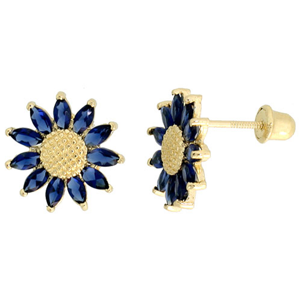 14k Gold Sunflower Stud Earrings Blue Cubic Zirconia Stones, 3/8 inch (10mm)