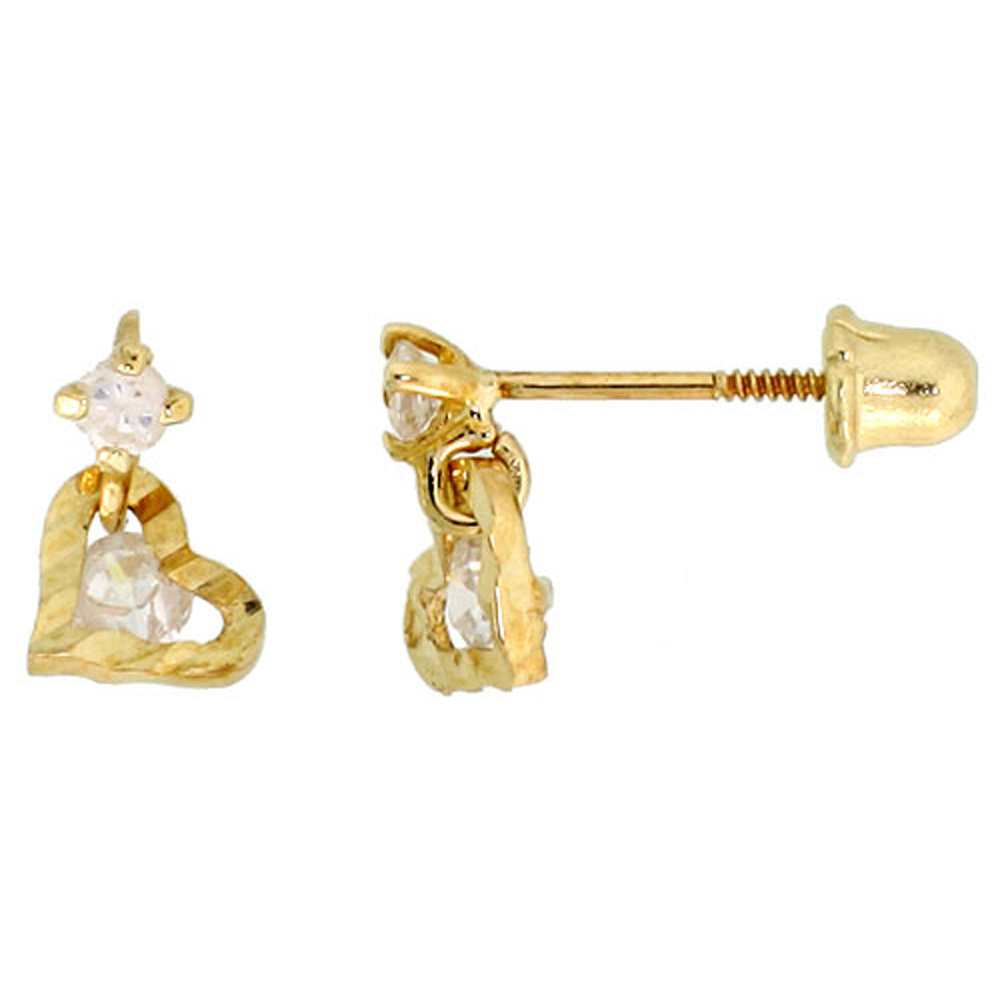 14k Gold Tiny Heart Stud Earrings White Cubic Zirconia Stones, 5/16 inch (8mm)