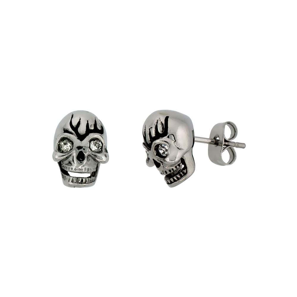 Stainless Steel Skull Earrings w/ Crystal Eyes, 1/2 inch