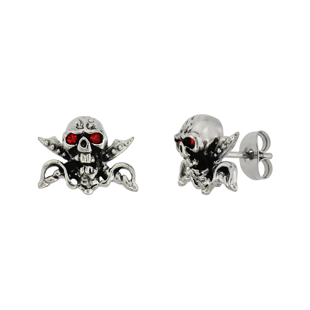 Stainless Steel Skull & Crossed Swords Earrings Red Eyes, 1/2 inch
