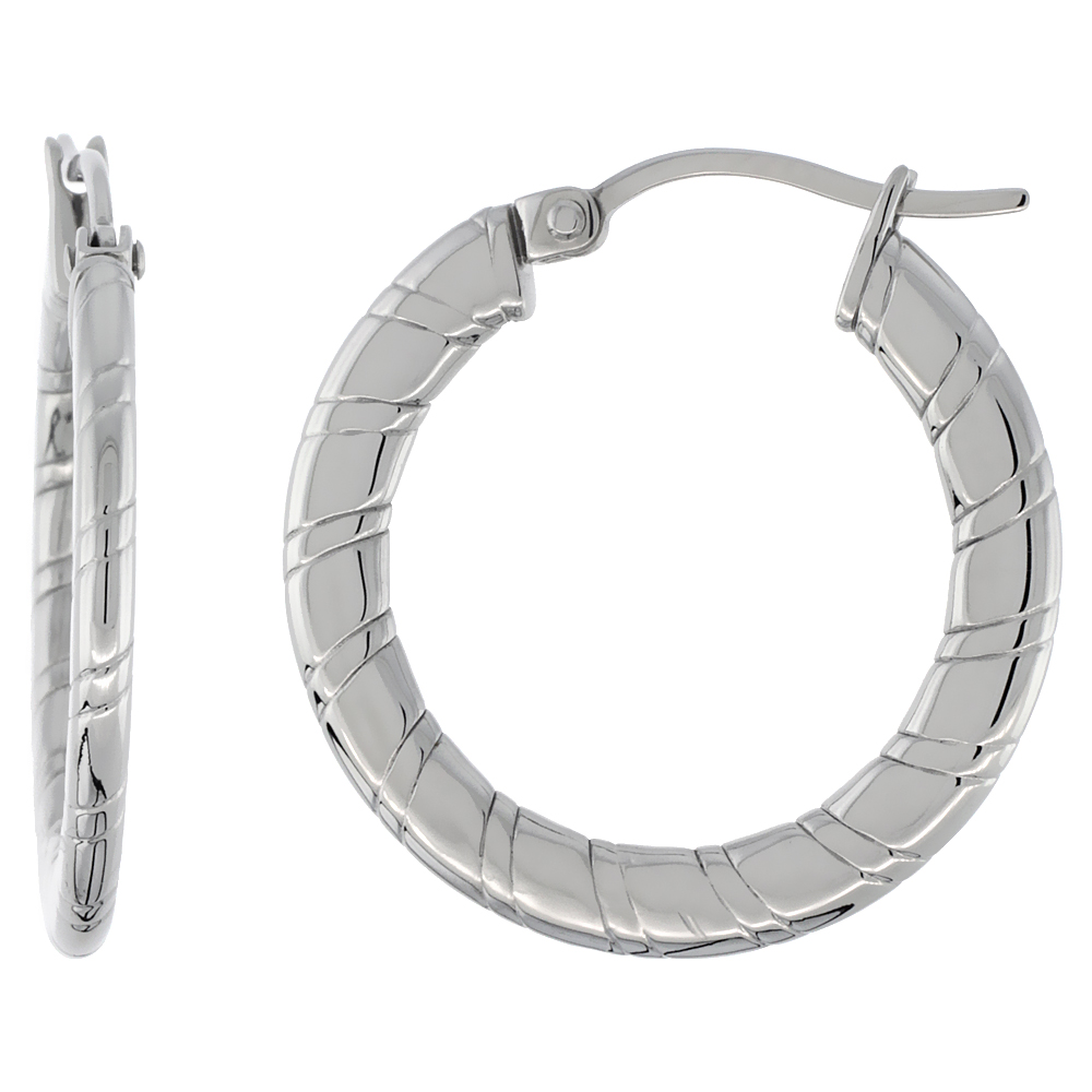 Surgical Steel Flat Hoop Earrings 1 inch Round 2 mm Thin Tube Candy Stripe Pattern Light Weightt