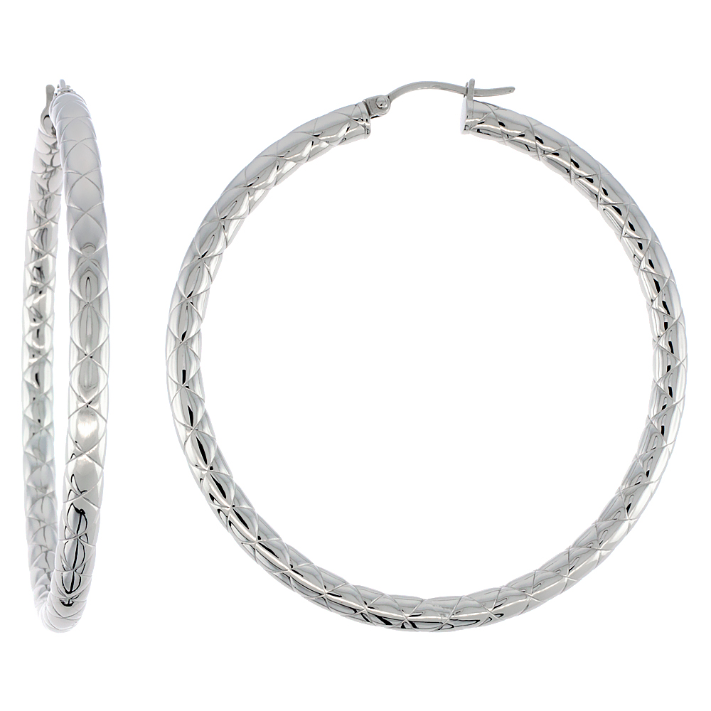 Stainless Steel Hoop Earrings 2 1/4 inch Round 4 mm wide Zigzag Pattern Light Weightt