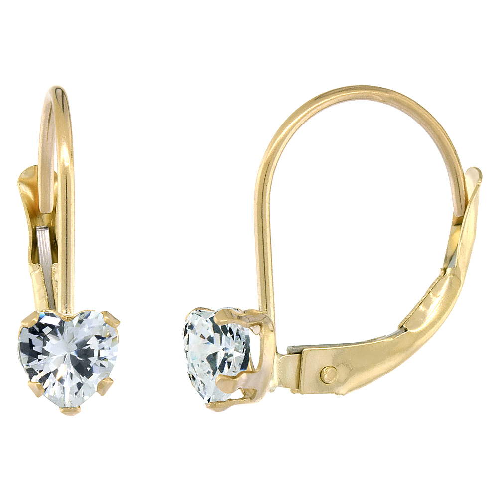 10k Yellow Gold Cubic Zirconia Leverback Earrings 4mm Heart Shape 0.50 ct, 9/16 inch