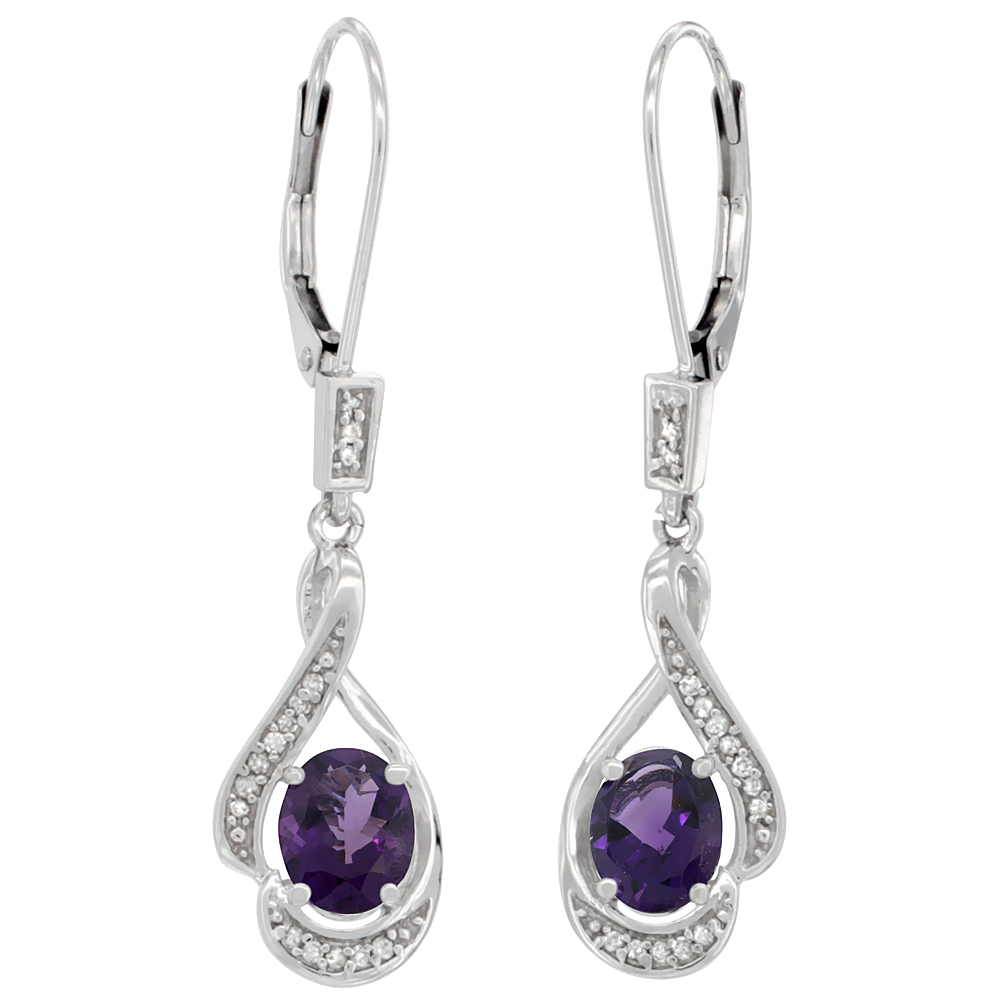 14K White Gold 0.13 cttw Diamond Natural Amethyst Leverback Earrings Oval 7x5 mm, 1 7/16 inch long