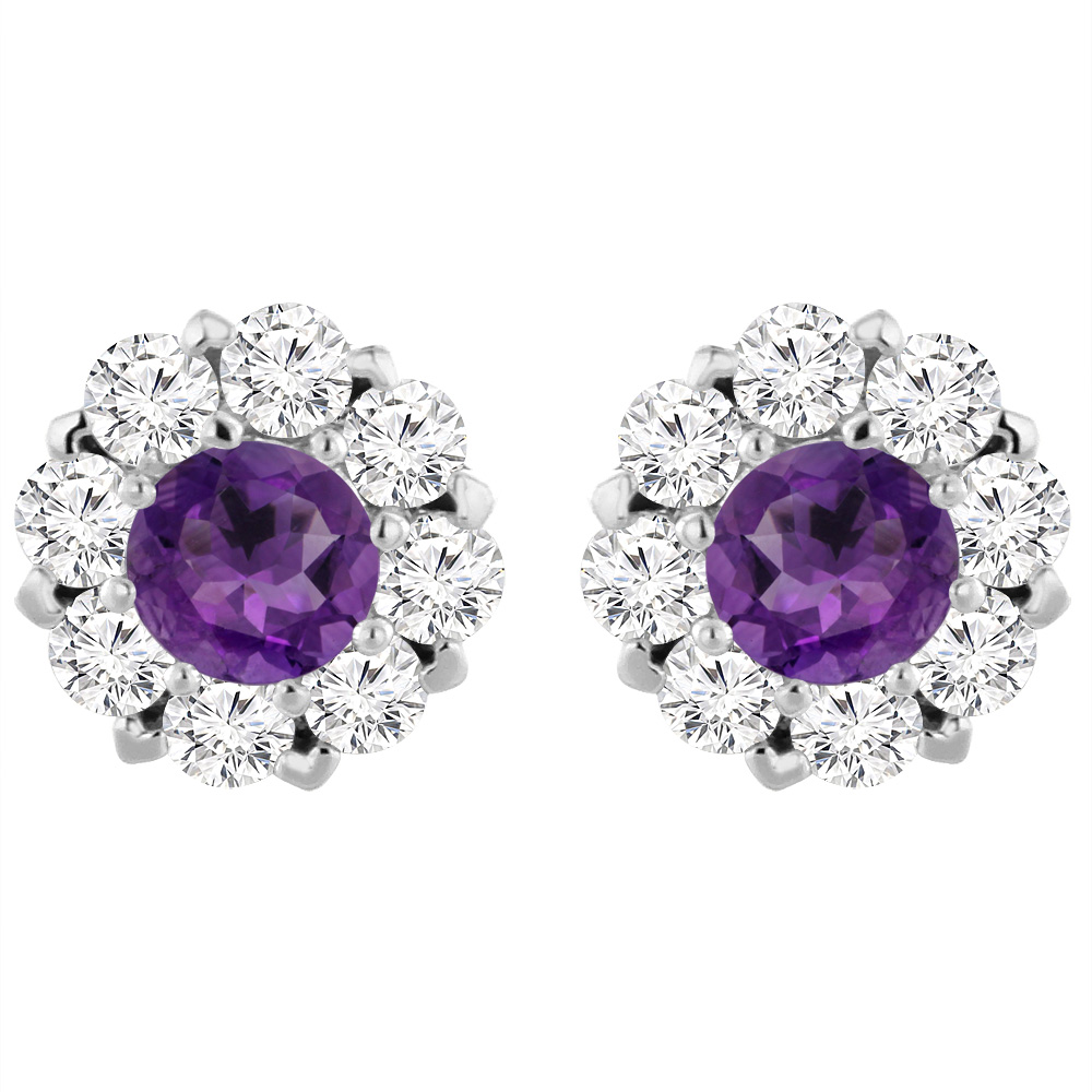 14K White Gold Natural Amethyst Earrings with Diamond Halo Round 6 mm