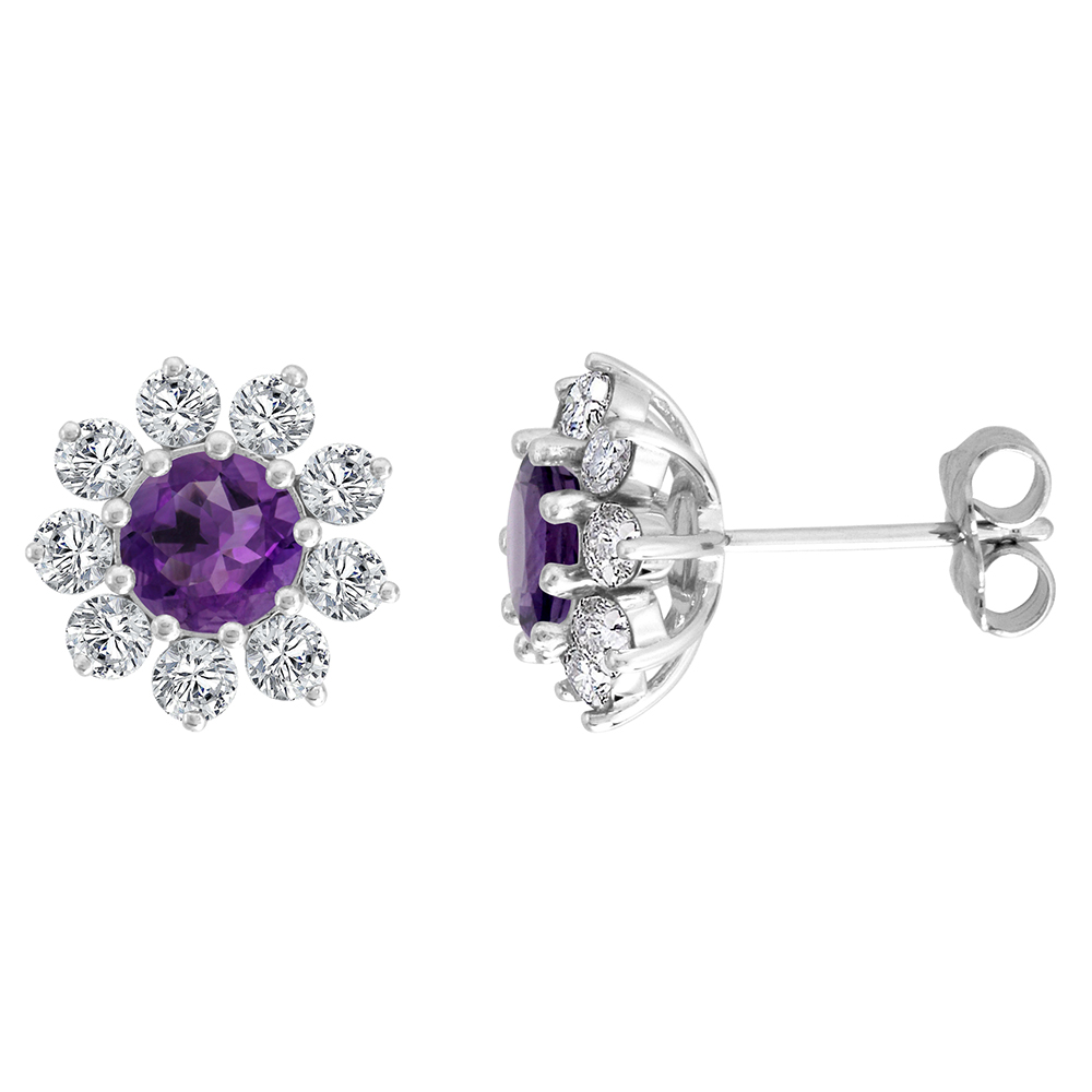 14k White Gold Diamond Halo Genuine Amethyst Halo Stud Earrings Round 6mm 7/16 inch wide
