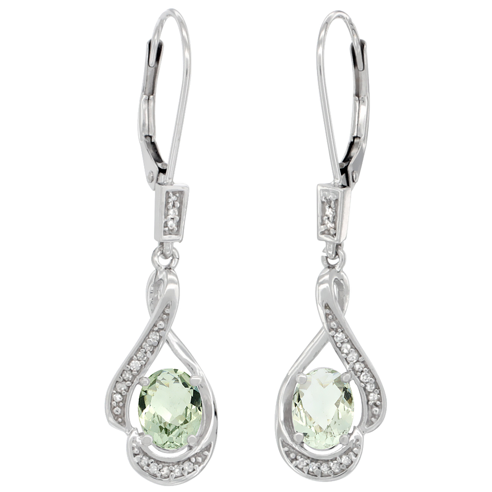 14K White Gold Diamond Natural Green Amethyst Leverback Earrings Oval 7x5 mm, 1 7/16 inch long