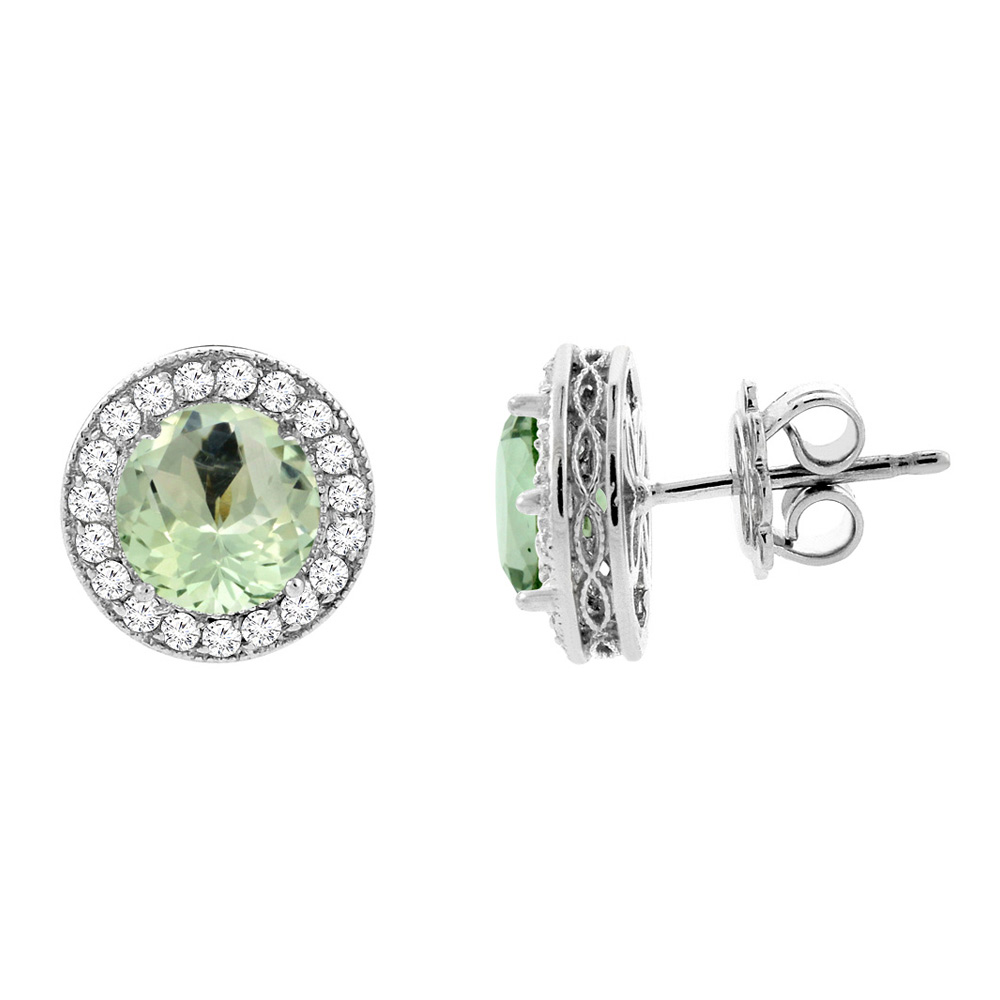 14K White Gold Natural Green Amethyst Halo Earrings with Diamond Accent, 3/16 inch wide