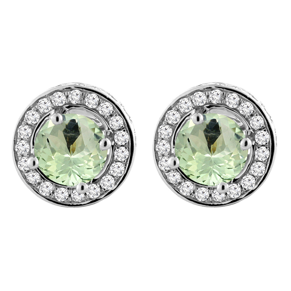 14K White Gold Natural Green Amethyst Earrings with Diamond Halo Round 5 mm