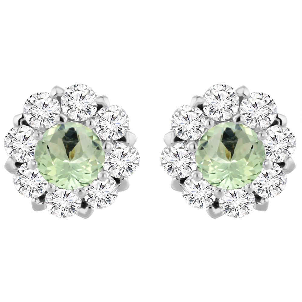 14K White Gold Natural Green Amethyst Earrings with Diamond Halo Round 6 mm