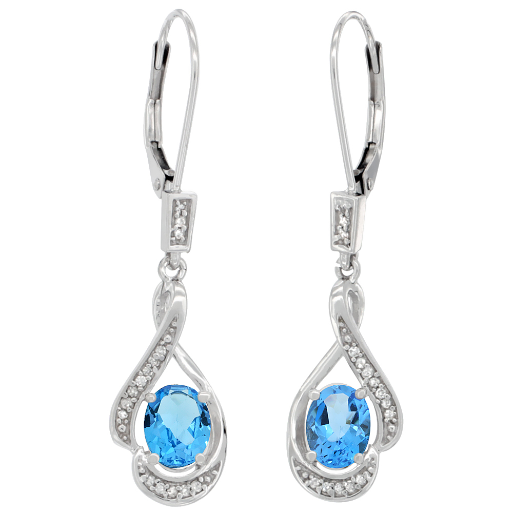 14K White Gold 0.13 cttw Diamond Natural Swiss Blue Topaz Leverback Earrings Oval 7x5mm, 1 7/16 inch long