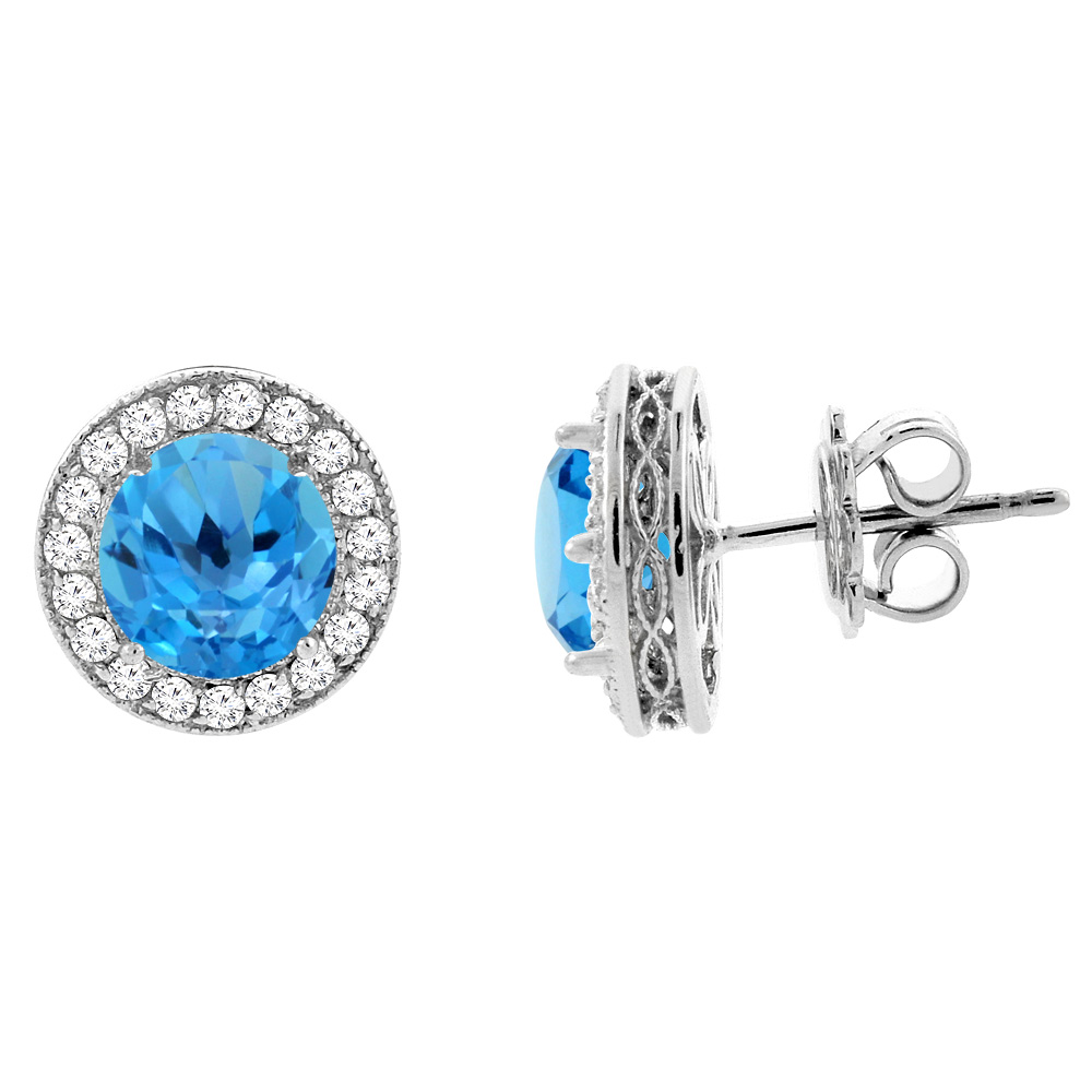 14K White Gold Natural Swiss Blue Topaz Halo Earrings with Diamond Accent, 1/4 inch wide