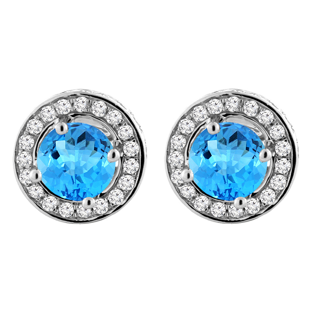 14K White Gold Natural Swiss Blue Topaz Earrings with Diamond Halo Round 5 mm