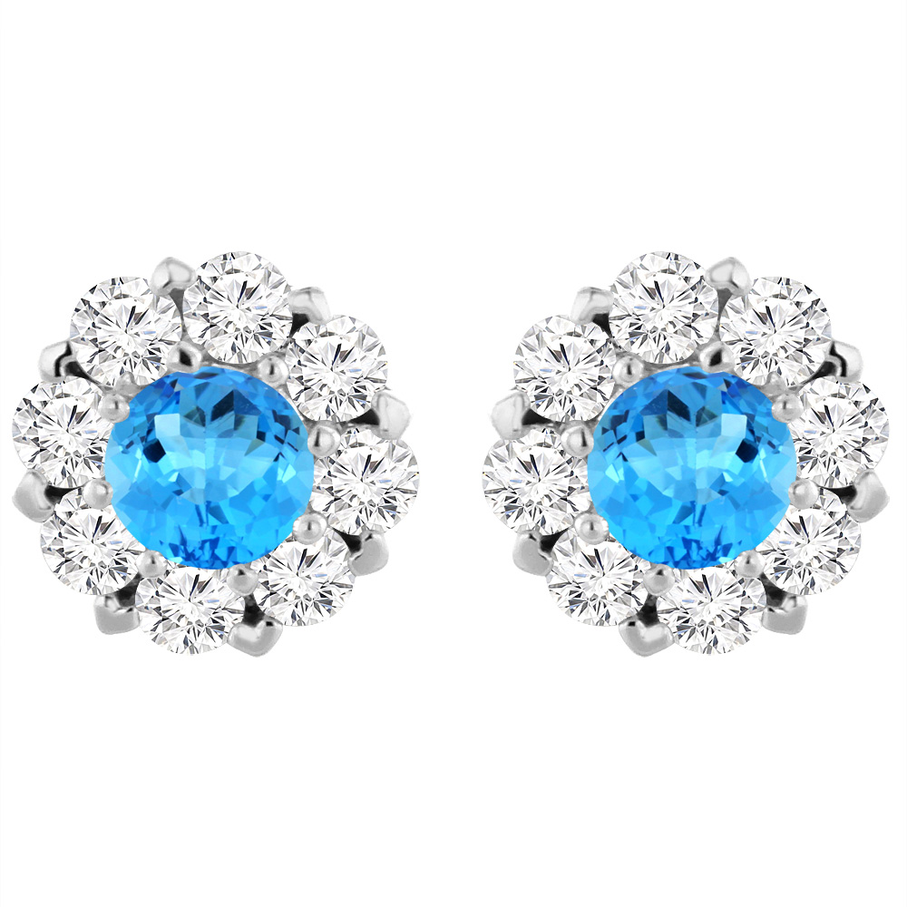 14K White Gold Natural Swiss Blue Topaz Earrings with Diamond Halo Round 6 mm