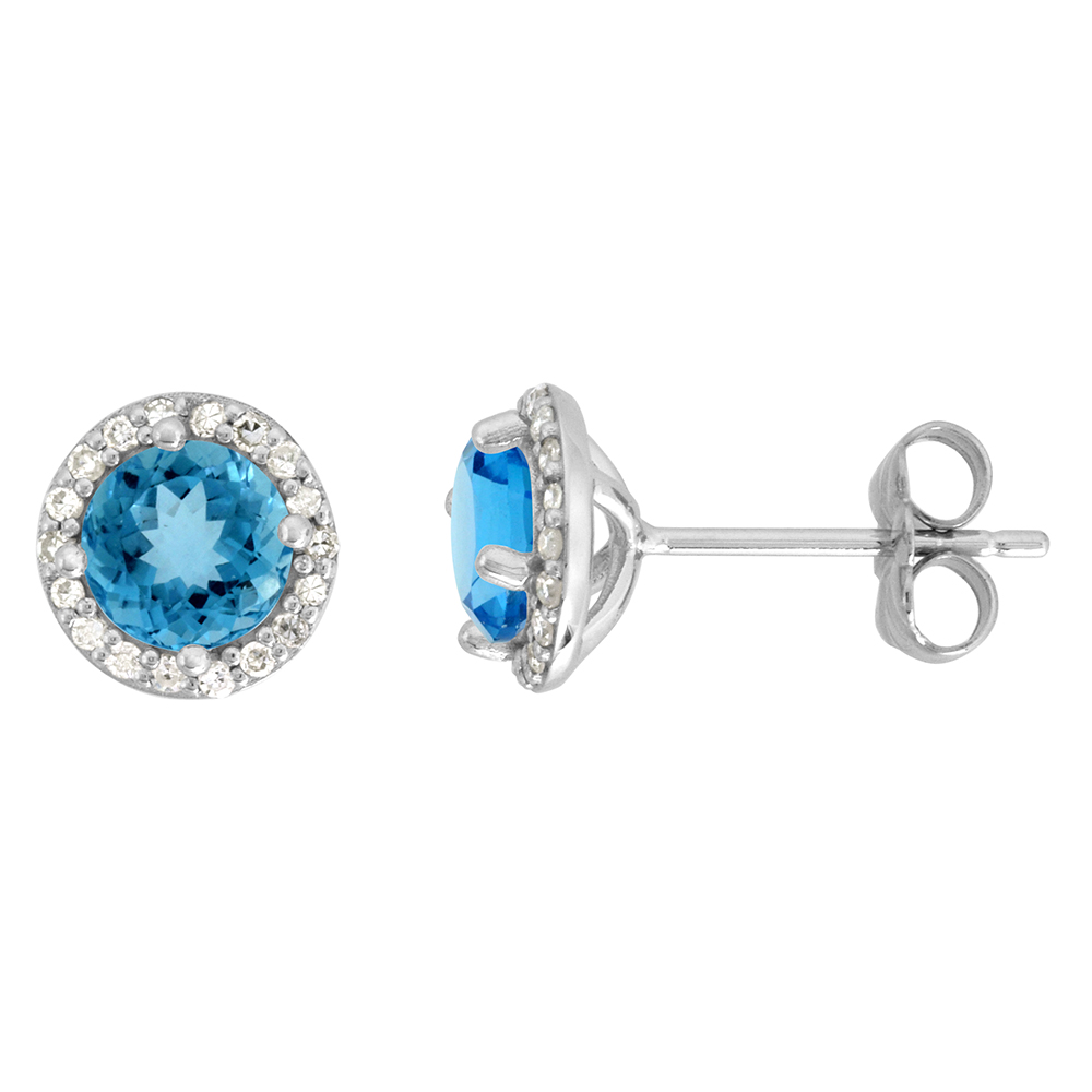 14k White Gold Diamond Halo Genuine Swiss Blue Topaz Stud Earrings Round 6mm