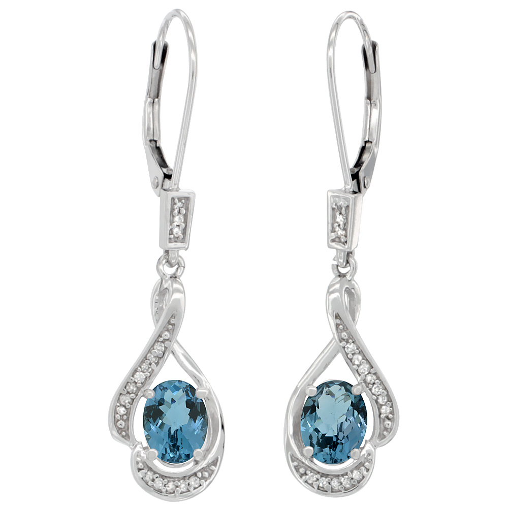 14K White Gold Diamond Natural London Blue Topaz Leverback Earrings Oval 7x5mm,1 7/16 inch long