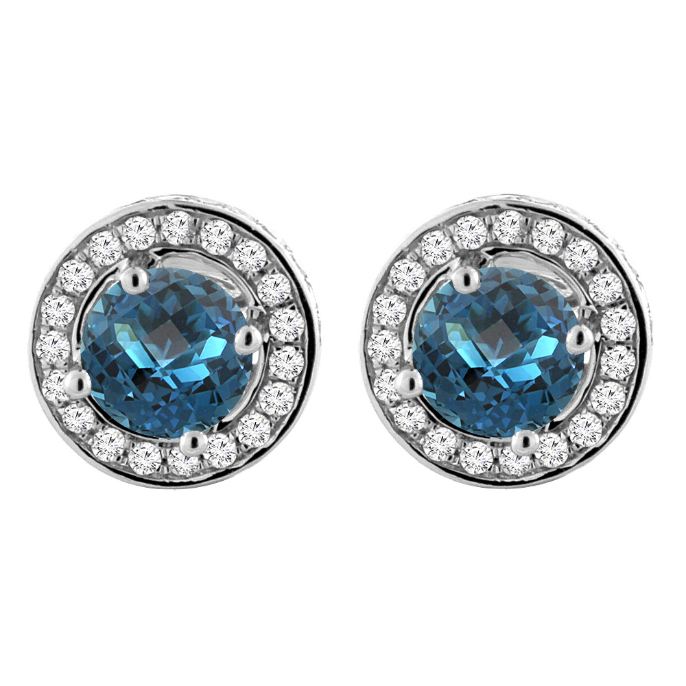 14K White Gold Natural London Blue Topaz Earrings with Diamond Halo Round 5 mm