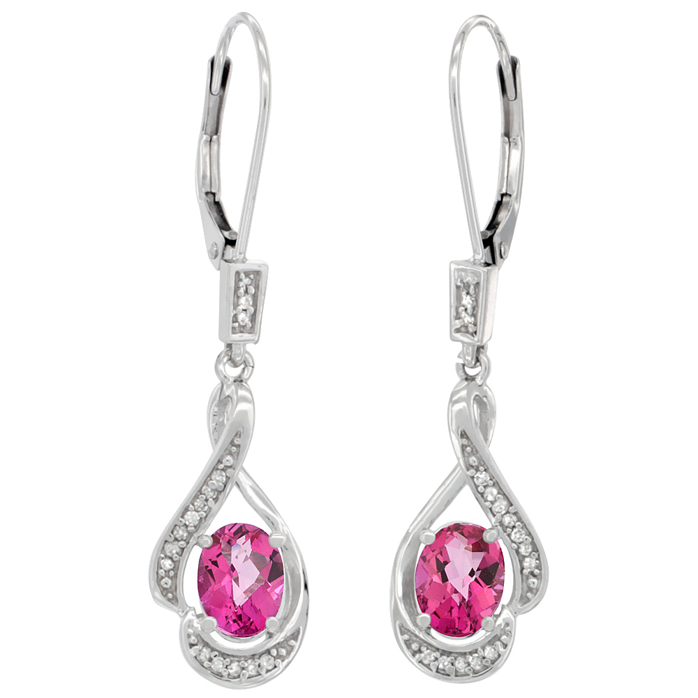 14K White Gold Diamond Natural Pink Topaz Leverback Earrings Oval 7x5 mm, 1 7/16 inch long