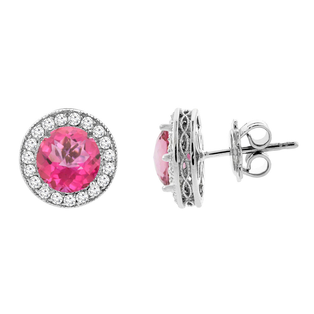 14K White Gold Natural Pink Topaz Halo Earrings with Diamond Accent, 3/16 inch wide