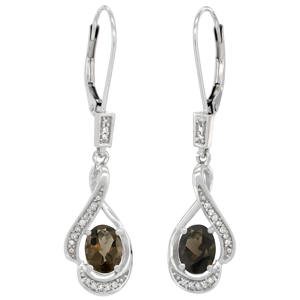 14K White Gold Diamond Natural Smoky Topaz Leverback Earrings Oval 7x5 mm, 1 7/16 inch long