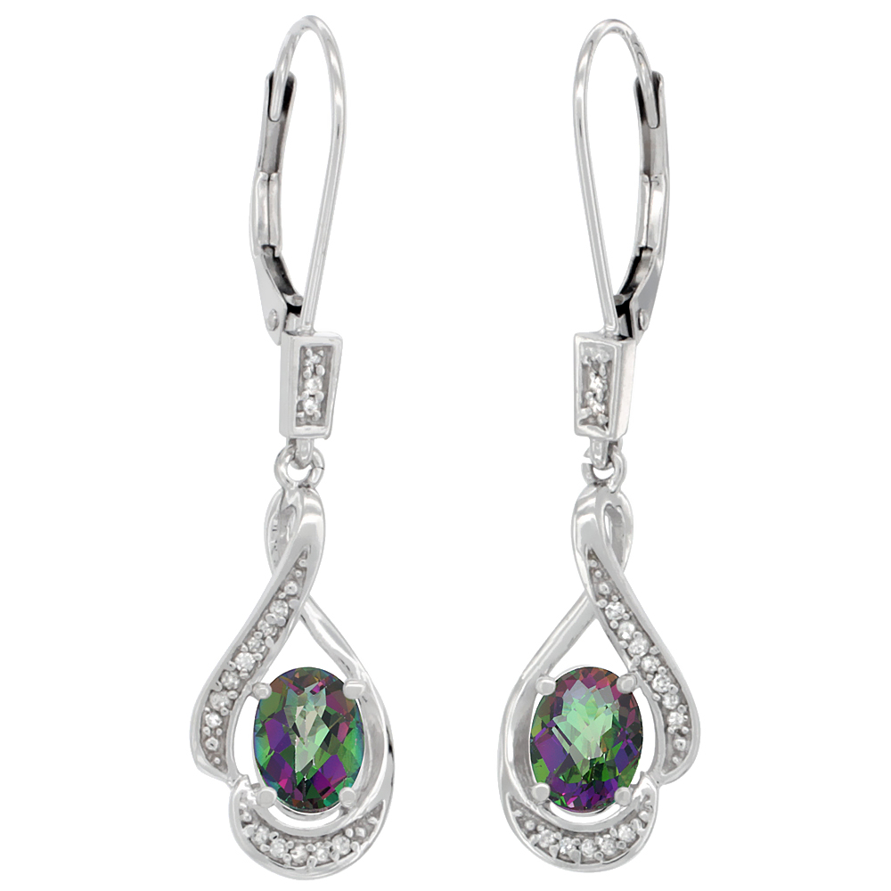 14K White Gold 0.13 cttw Diamond Natural Mystic Topaz Leverback Earrings Oval 7x5 mm, 1 7/16 inch long