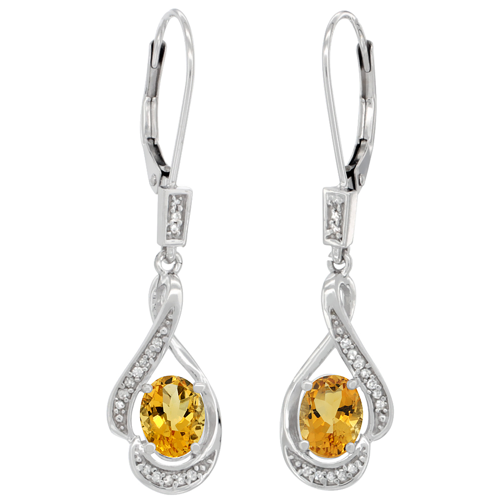 14K White Gold Diamond Natural Citrine Leverback Earrings Oval 7x5 mm, 1 7/16 inch long
