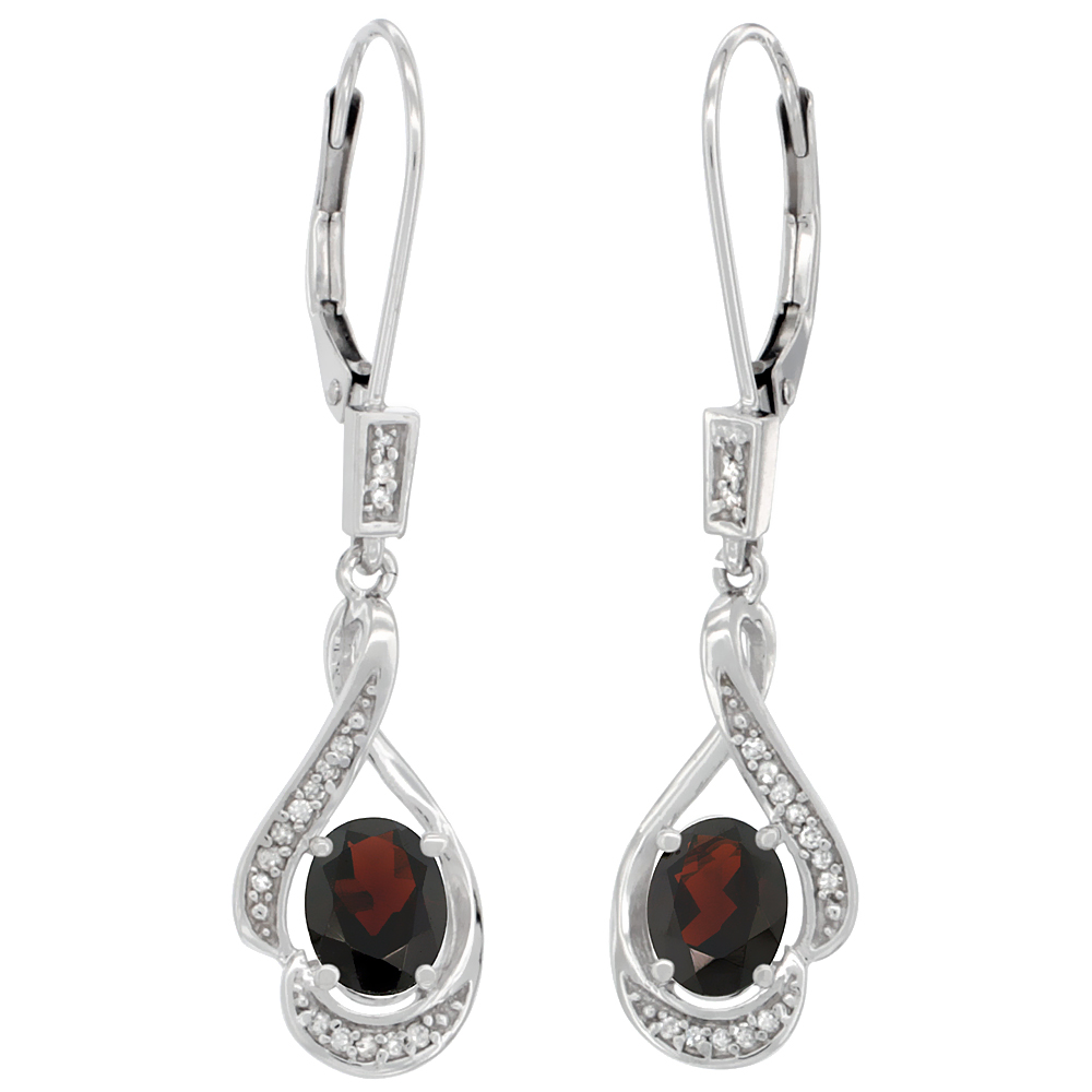 14K White Gold 0.13 cttw Diamond Natural Garnet Leverback Earrings Oval 7x5 mm, 1 7/16 inch long