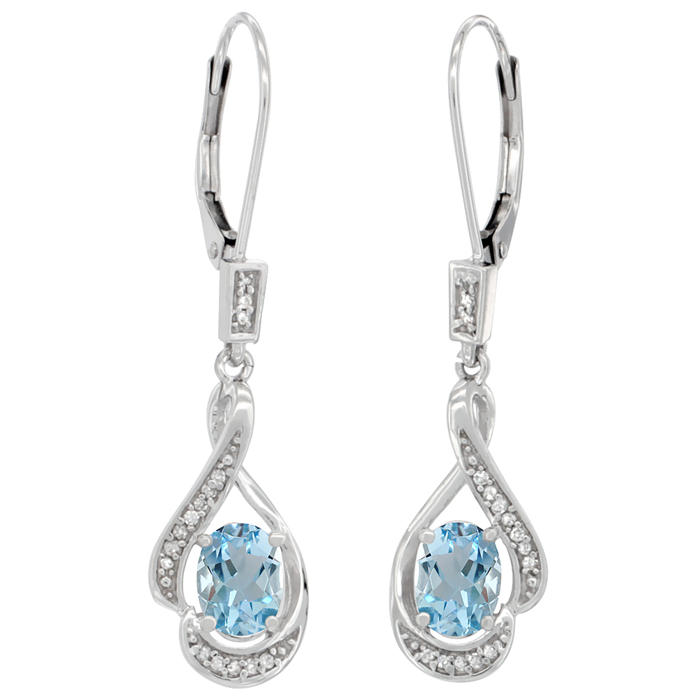 14K White Gold 0.13 cttw Diamond Natural Aquamarine Leverback Earrings Oval 7x5 mm, 1 7/16 inch long