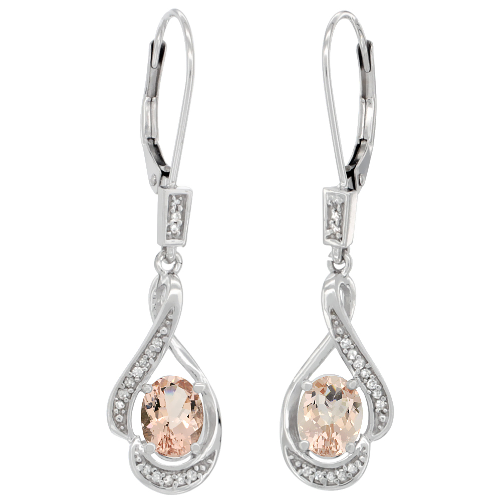 14K White Gold Diamond Natural Morganite Leverback Earrings Oval 7x5 mm, 1 7/16 inch long