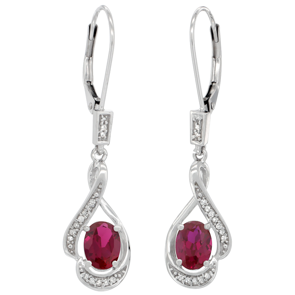 14K White Gold Diamond Enhanced Genuine Ruby Leverback Earrings Oval 7x5 mm, 1 7/16 inch long